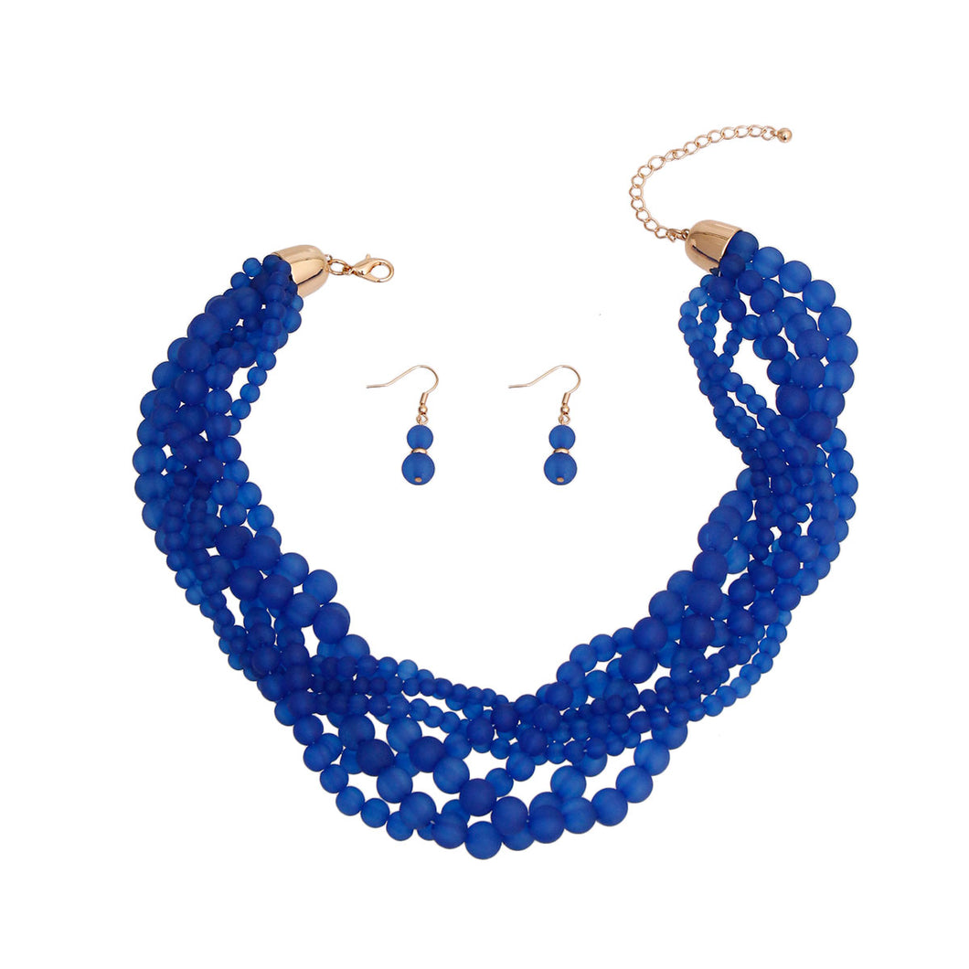 Blue Transparent Braided Bead Set