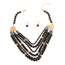 Load image into Gallery viewer, Black 6 Layered Bead Necklace