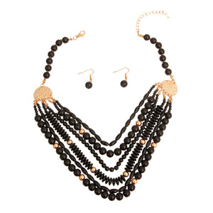 Black 6 Layered Bead Necklace