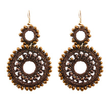 Cargar imagen en el visor de la galería, Brown Bead and Brown Thread Wrapped Round Drop Earrings