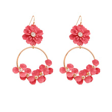 Load image into Gallery viewer, Pink Flower and Gold Drop Hoop Earrings