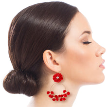Load image into Gallery viewer, Red Flower and Gold Drop Hoop Earrings