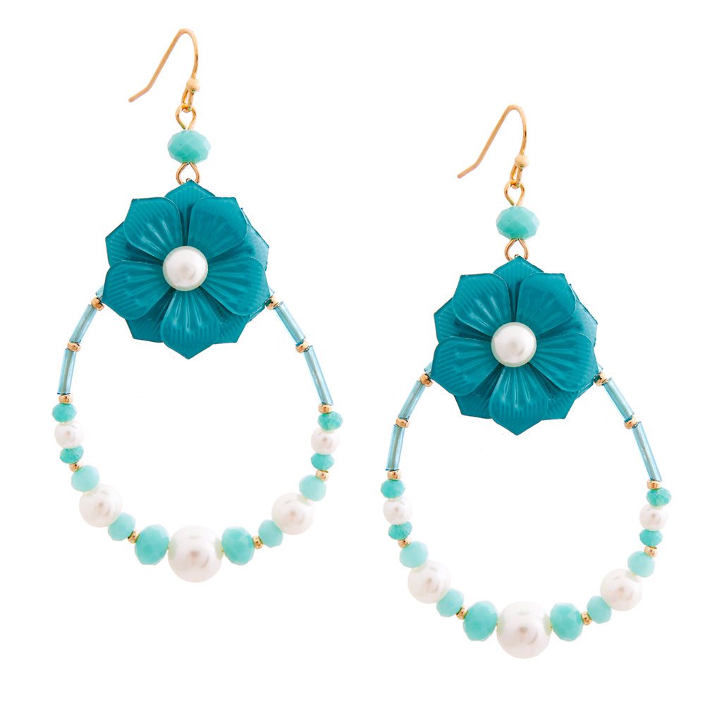 Aqua Flower Teardrop Earrings with Pearl and Bead Detail