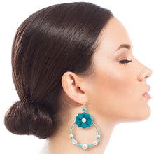 Load image into Gallery viewer, Aqua Flower Teardrop Earrings with Pearl and Bead Detail