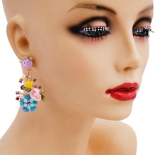 Load image into Gallery viewer, Purple Flower and Rhinestone Drop Earrings