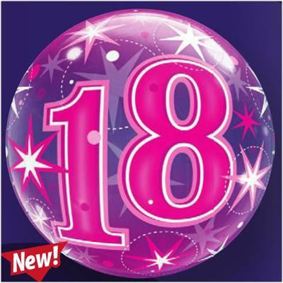 "Bubble Balloon 22"" - 18th Starburst Sparkle Pink"