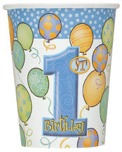 Printed Paper Cups - 1st Balloons Blue Pk 8