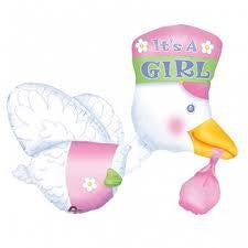 Foil Balloon Supershape - Stork It's A Girl