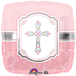 "Foil Balloon 18"" - Cross Blessing Pink"