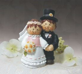 Cake Topper - Bride and Groom Holding Hands 10cm(H)