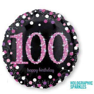"Foil Balloon 18"" - 100th Celebration Holographic Sparkles (Pink)"