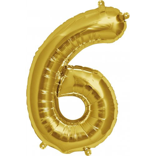 Foil Balloon 16'' - Number 6 Real Gold Package Only