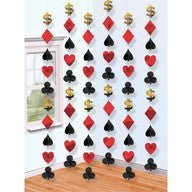 Hanging Decoration - Casino Card Suits 6 Pc