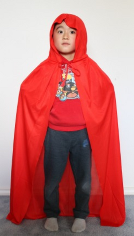 Cape - Red With Hood 1.0m (Child)