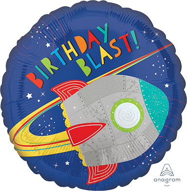 "Foil Balloon 18"" - Blast off Birthday Rocket"