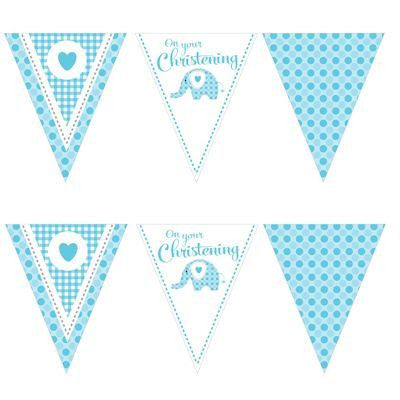 Bunting Flags - Christening Sweet Baby Elephant Blue