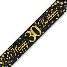 Banner - Happy 30th Birthday Holographic Black & Gold""
