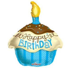 Foil Balloon Junior Shape - Birthday Cupcake Blue