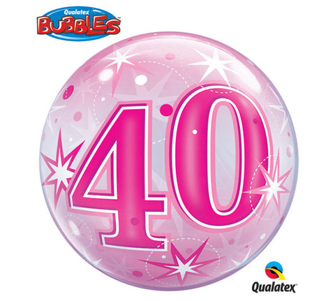"Bubble Balloon 22"" - 40th Starburst Sparkle Pink"