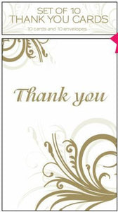 Thank You Cards w/Envelopes - Gold Swirl Pk 10