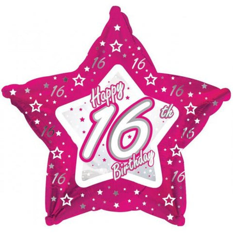 "Foil Balloon 17"" - Happy 16th Birthday Pink Star-shaped"