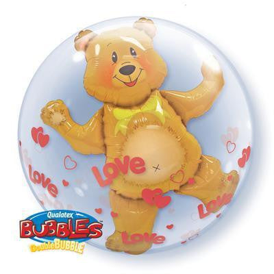 "Double Bubble Balloon 24"" - Love Hearts & Bear"