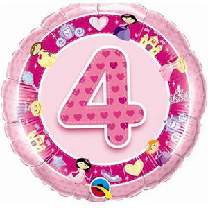 "Foil Balloon 18"" - 4th Birthday Pink"