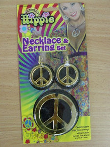 60s Hippie Peace Necklace & Earrings