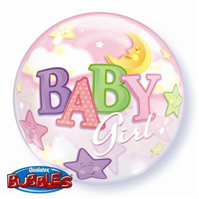 "Bubble Balloon 22"" - Baby Girl Moon & Stars"