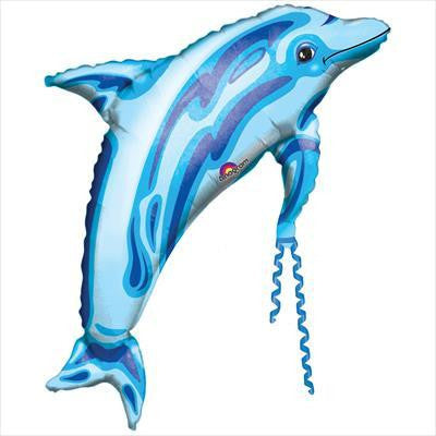Foil Balloon Supershape - Jewel Blue Dolphin Transparent