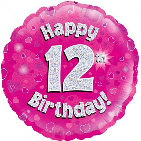 "Foil Balloon 18"" - Happy 12th Birthday Pink Holographic"