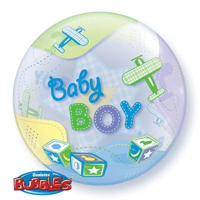 "Bubble Balloon 22"" - Baby Boy Airplanes"