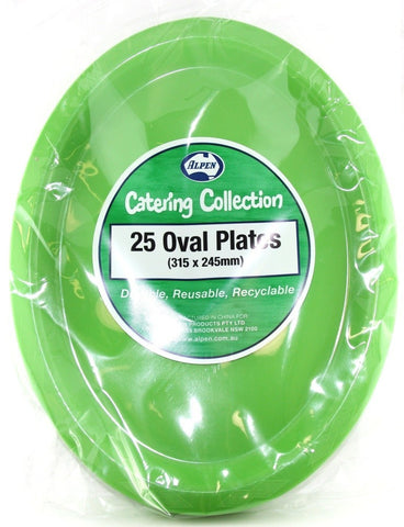 Plastic Buffet Plates Oval - Lime Green Pk 25