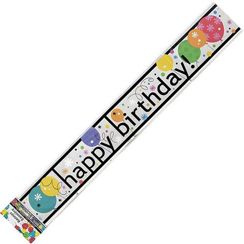 Banner - Happy Birthday Black and Silver