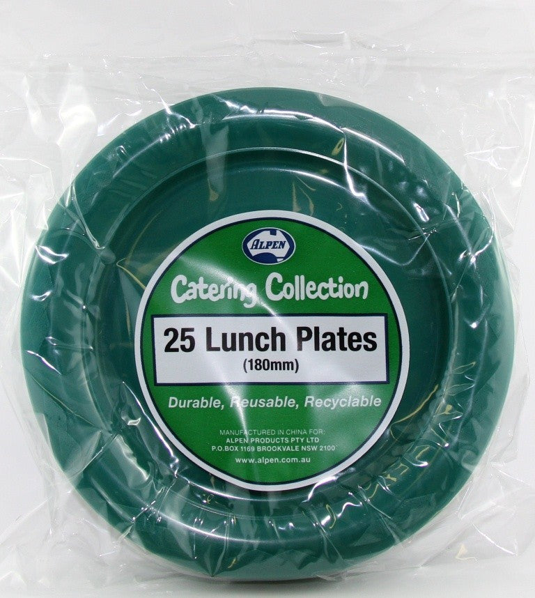 Plastic Lunch Plates - Hunter Green Pk 25