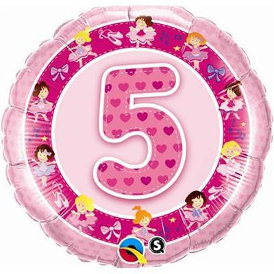 "Foil Balloon 18"" - 5th Birthday Pink"