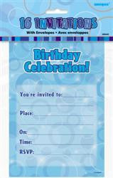 Invitations - Glitz Blue w/Envelopes Pk 16