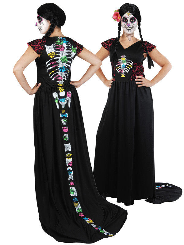 Costume - Day of the Dead Dress w/Train (Adult)