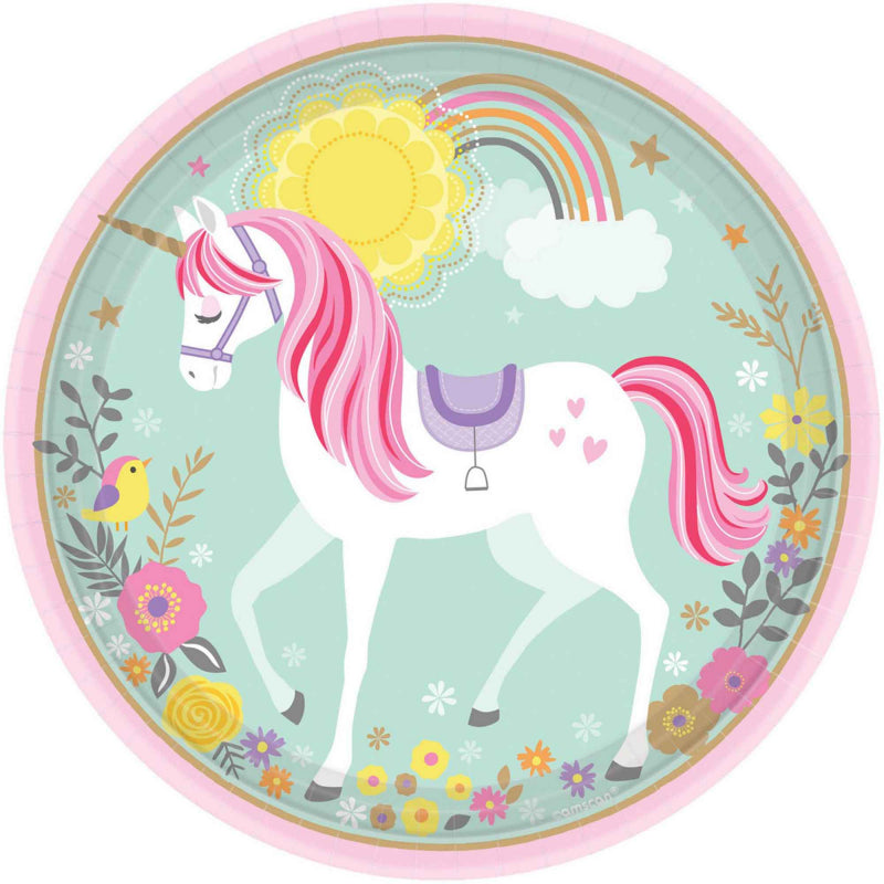 "Paper Plate - Magical Unicorn 9"" Round"