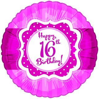 "Foil Balloon 18"" - 16th Birthday Perfectly Pink"