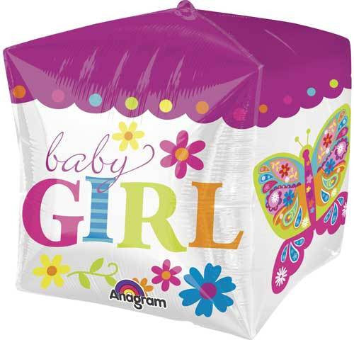 Foil Balloon Cubez - Square Baby Girl