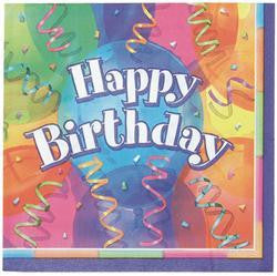 Printed Lunch Napkins 2Ply - Happy Birthday Pk 16