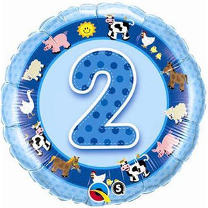 "Foil Balloon 18"" - 2nd Birthday Blue"