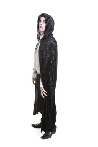 Cape - Velvet Hooded Black (Adult)