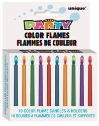 Candles - Coloured Flame Pk 10