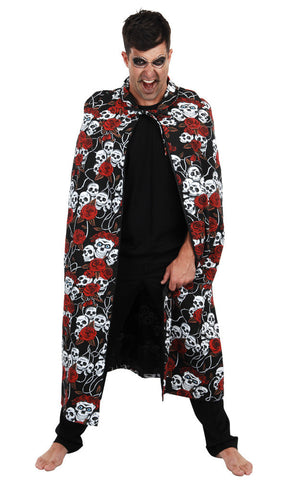 Cape - Skulls & Roses Deluxe Long (Adult)