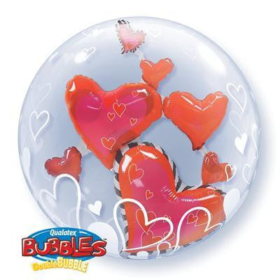 "Double Bubble Balloon 24"" - Red Hearts"