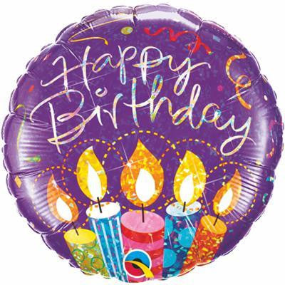 "Foil Balloon 18"" - Birthday Candles Holographic"