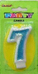 Candle Number - 7th Glitter Blue