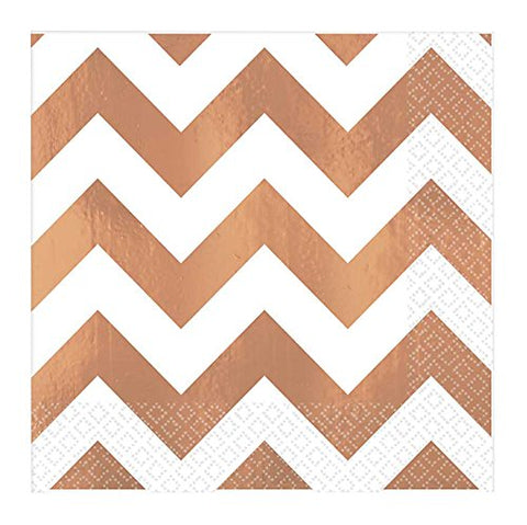 Beverage Napkins Chevron Rose Gold
